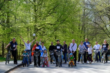 "Bishop Macarie with the Orthodox young people at the ""Pedaling for Life"" bicycle march in Göteborg, Sweden"