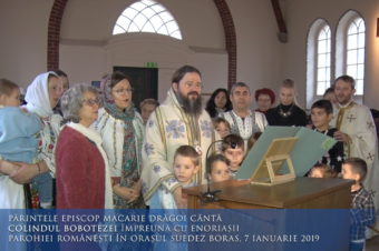 His Grace Bishop Macarie Drăgoi sings the carol of Epiphany together with the parishioners in the Swedish town of Boras, January 7, 2019