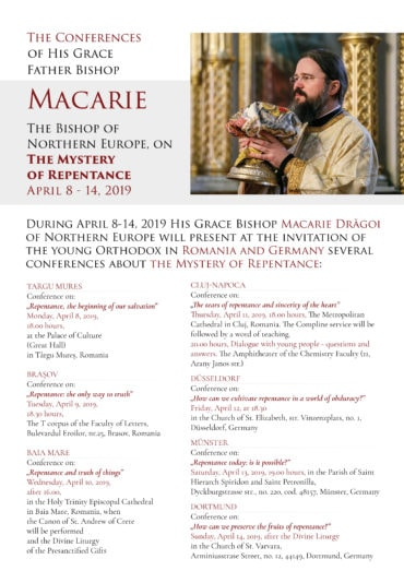Father Bishop Macarie will present several conferences on the Mystery of Repentance
